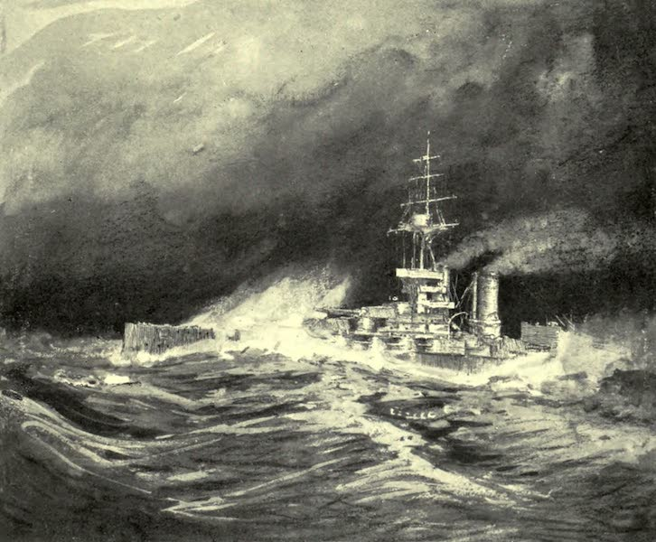 The Naval Front - &34;Shipping it Green&34; : Super-Dreadnought driving into a Heavy Sea (1920)