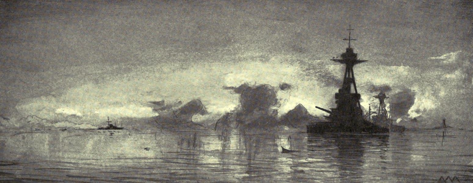 The Naval Front - Monitors bombarding Belgian Coast behind a Smoke Screen put up by Motor Launches (1920)