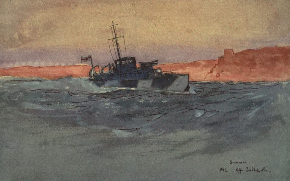 The Naval Front - Sunrise : Motor Launch off Gallipoli, Italy (1920)