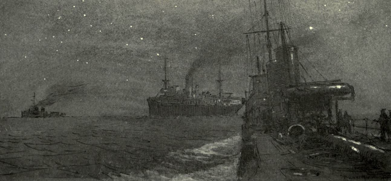 The Naval Front - A Night Escort : Destroyers conveying a Troopship to France (1920)
