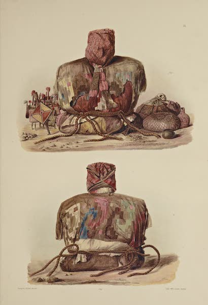 The Necropolis of Ancon Vol. 1 - Front and back view of a Mummy with a false head and funeral accompaniments (1880)