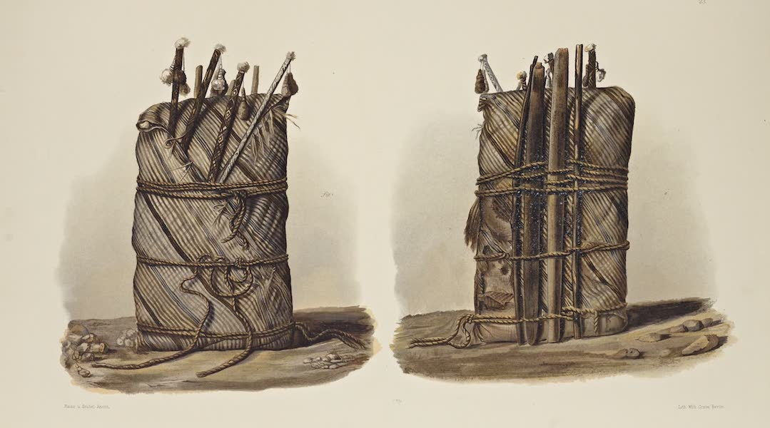 The Necropolis of Ancon Vol. 1 - Front and back view of a Mummy with weaving implements (1880)