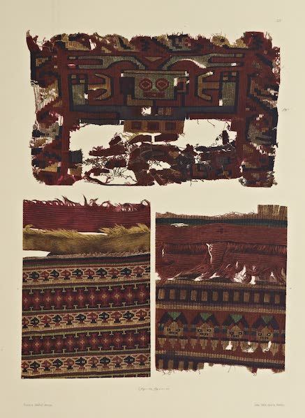 The Necropolis of Ancon Vol. 2 - Three Gobelins Pieces with Human figures — Portions of Woollen Garments  (1880)