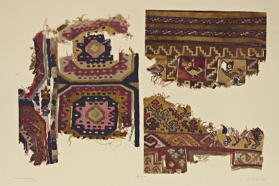 The Necropolis of Ancon Vol. 2 - Figured Gobelins with Geometrical and Animal designs — Portions of Woollen Garments (1880)
