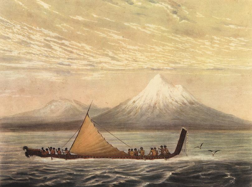 The New Zealanders Illustrated - Taranaki or Mount Egmont, War Canoe. (Early Morning) (1847)