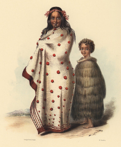 The New Zealanders Illustrated - Ngeungeu and her son James Maxwell (1847)