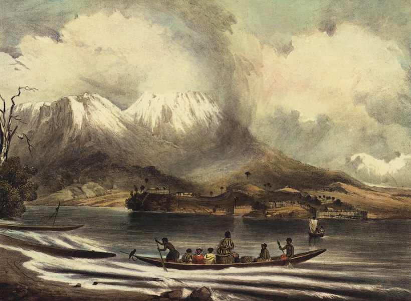 The New Zealanders Illustrated - Volcano of Tongariro with Motupoi Pah, from Roto-Aire Lake (1847)
