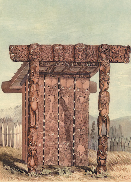 The New Zealanders Illustrated - Monument to Tewhero's favourite daughter, at Raroera Pah, near Otawhao (1847)