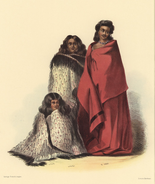 The New Zealanders Illustrated - E Rua, E Pari and E Hoki, women of Ngatitoa Tribe, Cook's Strait (1847)