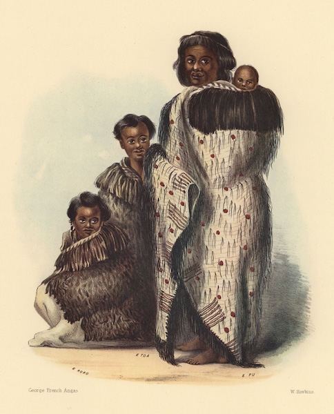 The New Zealanders Illustrated - A woman and her sons, of Nga Ti Toa Tribe. Cook's Strait (1847)