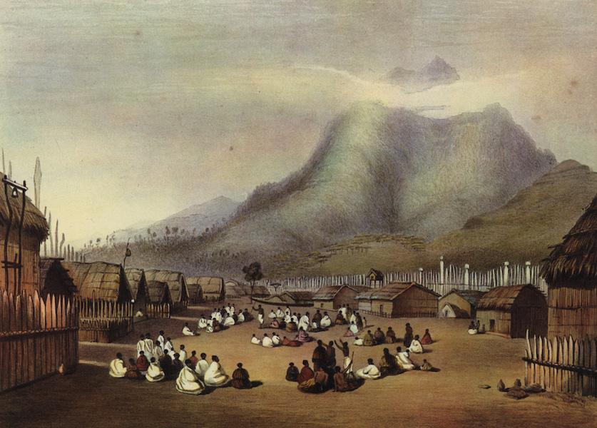 The New Zealanders Illustrated - Tu Kaitote, the Pah of Te Whero Whero, on the Waikato, Taupiri Mountains in the distance (1847)