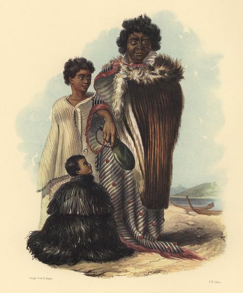 The New Zealanders Illustrated - Te Mutu, chief of the Shutai, with his sons; Patuoni and Te Kuri Hokianga (1847)