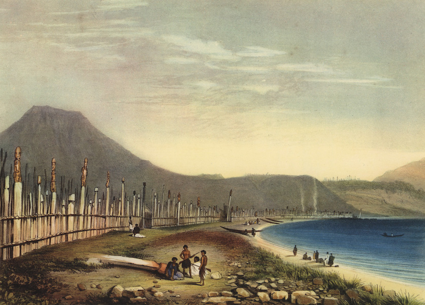 The New Zealanders Illustrated - Te Henheu's Old Pah of Waitahanui, at Taupo Lake (1847)