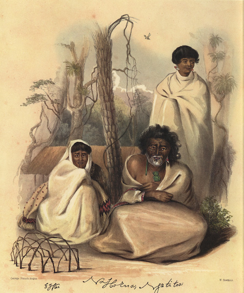 The New Zealanders Illustrated - E Wai (wife) / Na Horua or Tom Street (elder brother of Rauparaha) / Tuarau, or Kopai (his son) (1847)