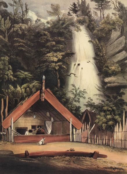 The New Zealanders Illustrated - House of Hiwikau, mother of Te Heuneu, and Falls of Ko Waihi, at Te Rapa, Tanpo Lake (1847)