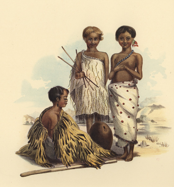The New Zealanders Illustrated - Children at the Boiling Springs, near Taupo Lake (1847)