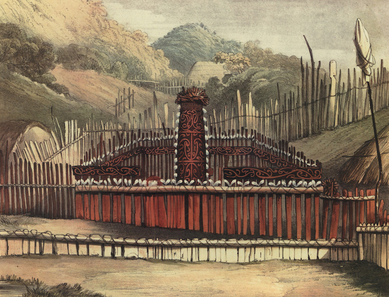The New Zealanders Illustrated - Tomb of the late chief Huriwenua, Queen Charlotte's Sound (1847)
