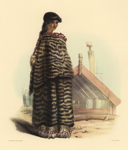 The New Zealanders Illustrated - E Tohi. A young woman of Barrier Island (1847)