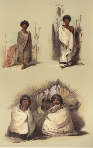 The New Zealanders Illustrated - Natives of Port Nicholson (4 figs) (1847)