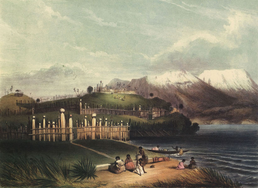The New Zealanders Illustrated - Motupoi Pah and Roto-Aire Lake. Tongariro in the distance (1847)