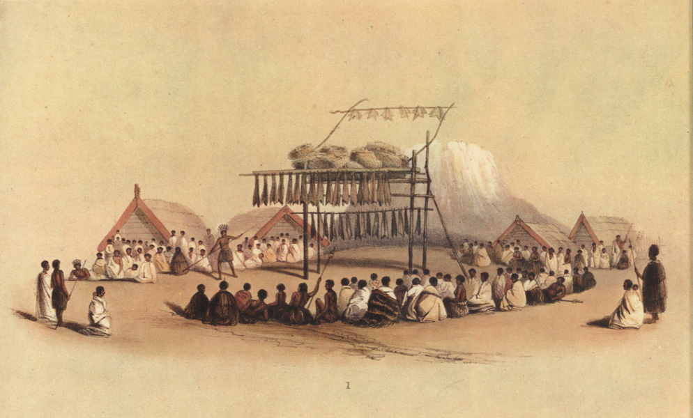 The New Zealanders Illustrated - A Feast at Mata-Ta, on the East Coast, Mt. Edgecumbe in the Distance (1847)