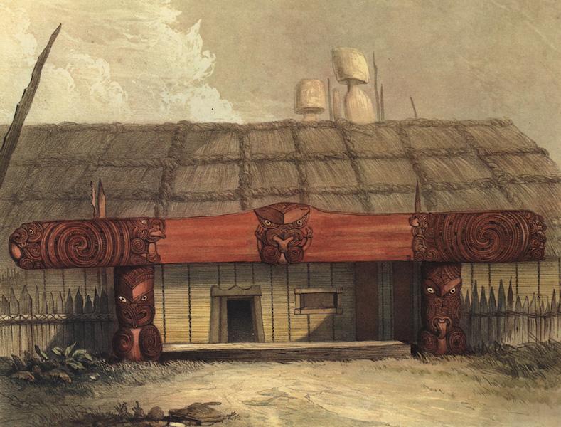 The New Zealanders Illustrated - Entrance to a House at Raroera Pah. Waipa (1847)