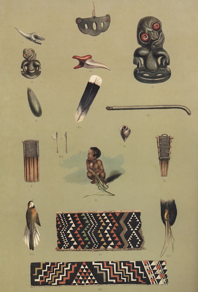 The New Zealanders Illustrated - Native Ornaments etc (17 figs) (1847)