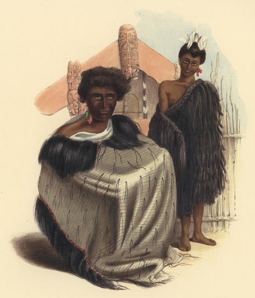 The New Zealanders Illustrated - Ko Tauwaki, a chief of the Tukanu, Ko Teonionga, a boy of Te Rapa. Taupo Lake (1847)