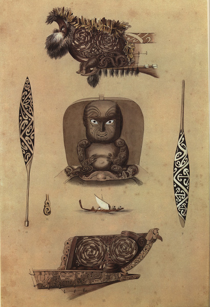 The New Zealanders Illustrated - Ornamental Canoe Heads, Paddles etc (7 figs) (1847)