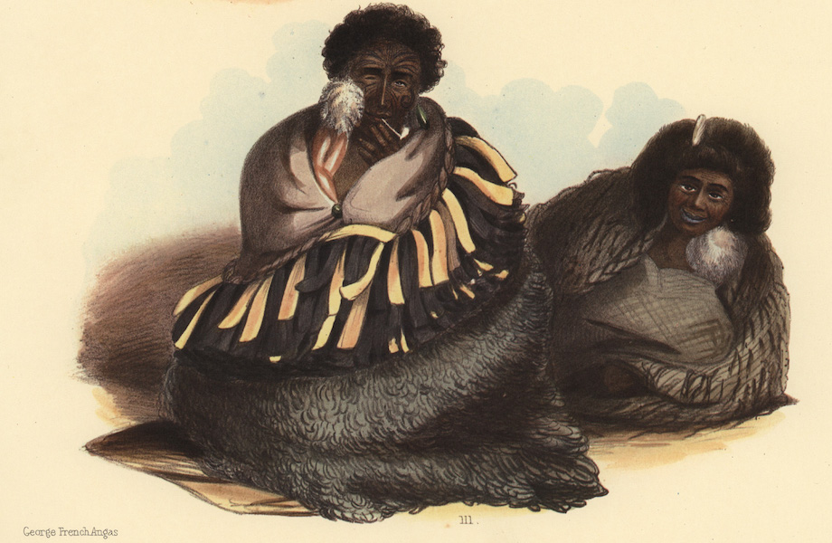 The New Zealanders Illustrated - Ko Tariu. a chief of Taupo, with his wife (1847)