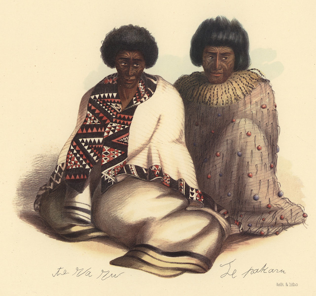 The New Zealanders Illustrated - Te Waru. Principal chief of the Nga Ti Apakura Tribe / Te Pakuru. Principal chief of the Nga Ti Manapoto Tribe (1847)