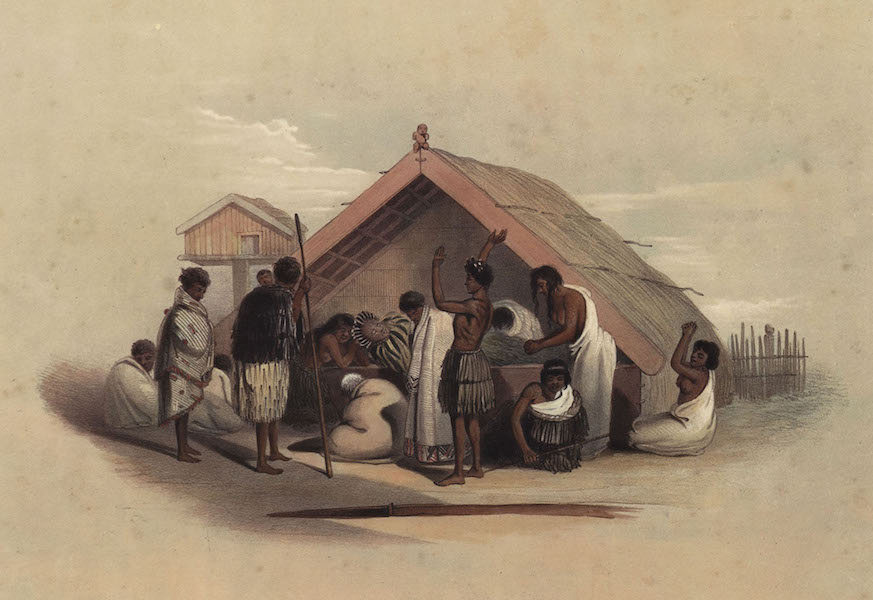 The New Zealanders Illustrated - Weeping over a Deceased Chief (1847)
