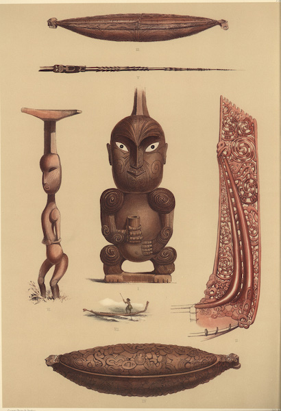 The New Zealanders Illustrated - Ornamental Carvings in Wood (7 figs) (1847)