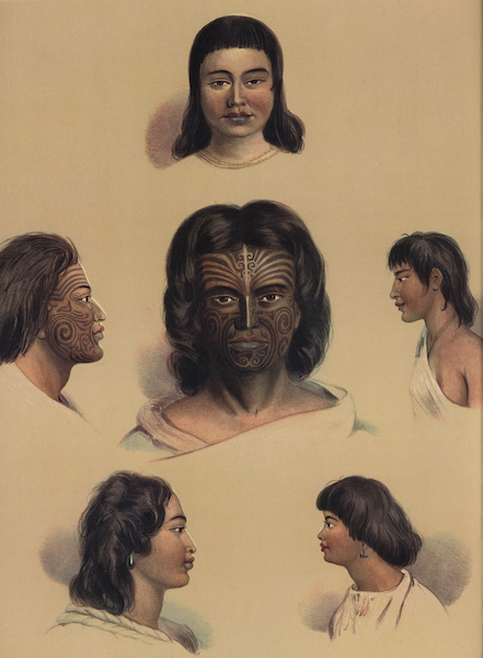 The New Zealanders Illustrated - Typical Portraits of the New Zealanders (6 figs) (1847)