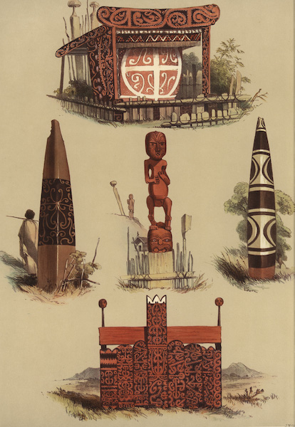The New Zealanders Illustrated - Native Tombs (5 figs) (1847)
