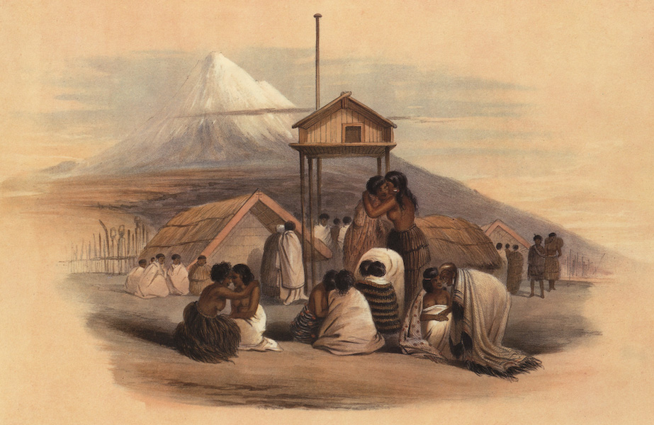 The New Zealanders Illustrated - A Tangui, or Meeting of Friends, Mount Egmont in the Distance (1847)
