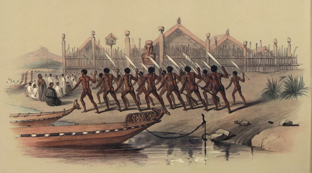 The New Zealanders Illustrated - War Dance, before the Pah of Oinemutu near Roturua Lake (1847)