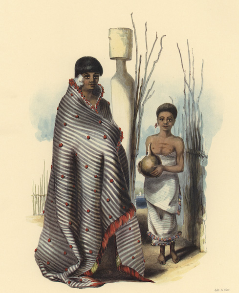 The New Zealanders Illustrated - Toea, daughter of Te Awaitaia, chief of Waingaroa with an attendant boy, carrying water (1847)