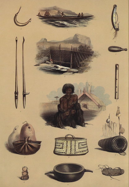 The New Zealanders Illustrated - Implements & Domestic Economy (14 figs) (1847)