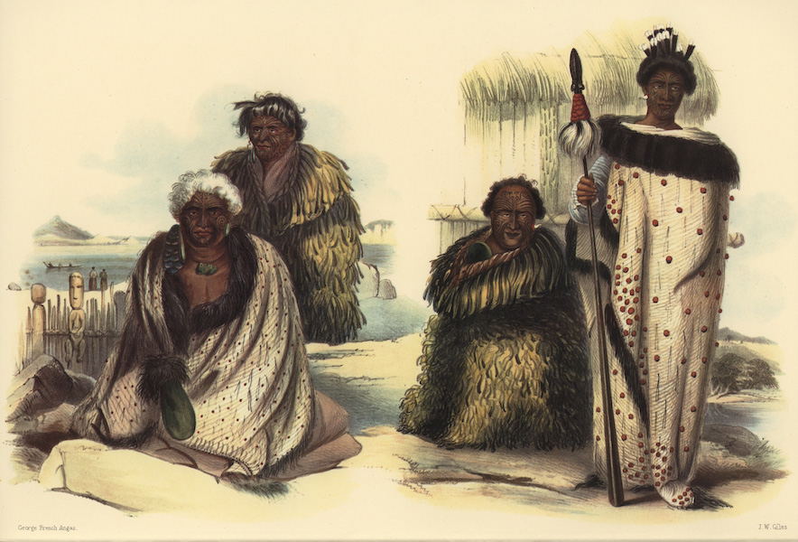 The New Zealanders Illustrated - Te Heuheu & Hiwikaw Tanpo / Te Kawaw & his nephew Orakai (1847)