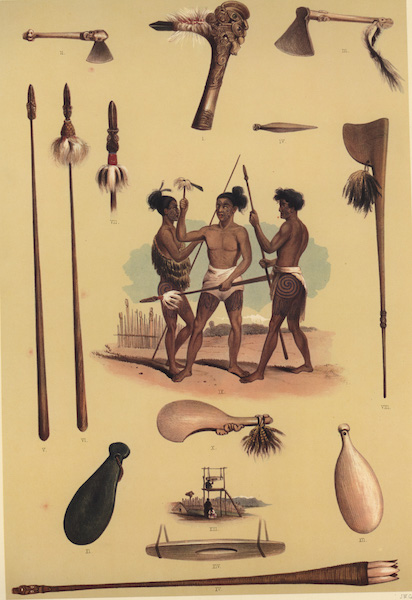 The New Zealanders Illustrated - Weapons & Implements of War Warriors prepaing for a fight (9 figs) (1847)