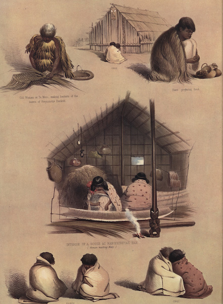 The New Zealanders Illustrated - Domestic Sketches (5 figs) (1847)