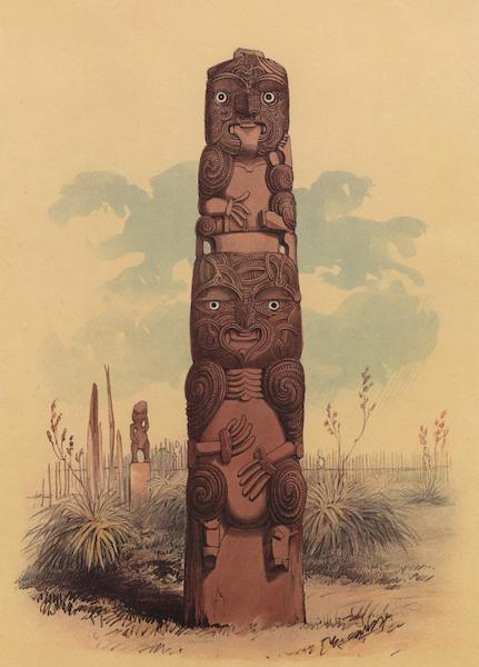 The New Zealanders Illustrated - A Tiki at Raroera Pah (1847)