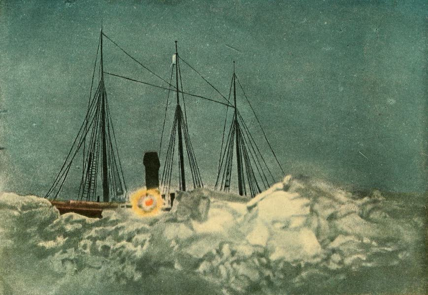 Illumination of the Roosevelt in Winter Quarters on a Moonlit Night Showing the Ice Pressure Close to the Ship