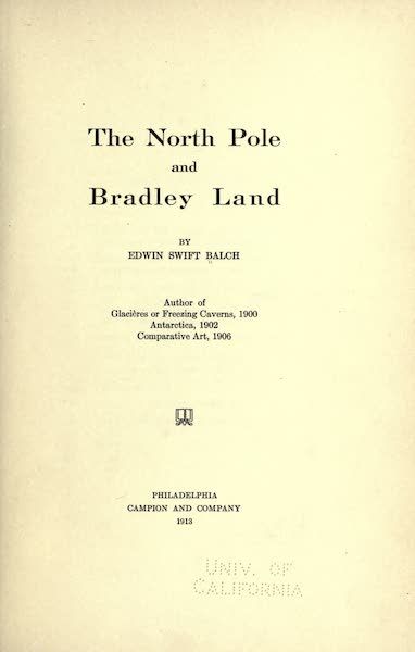 The North Pole and Bradley Land - Title Page (1913)