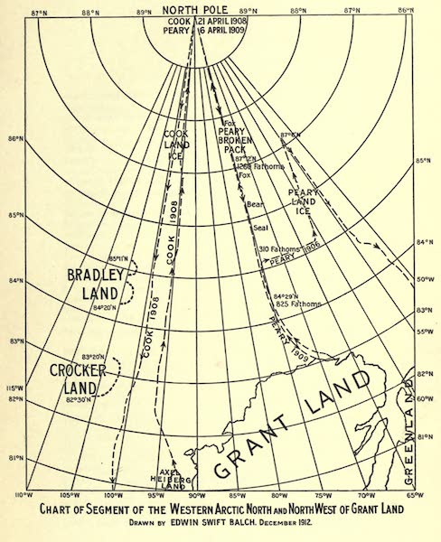 The North Pole and Bradley Land - Chart of Segment of the Western Arctic North and North West of Grant Land (1913)