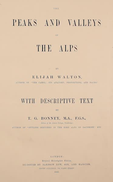 The Peaks & Valleys of the Alps - Title Page (1868)