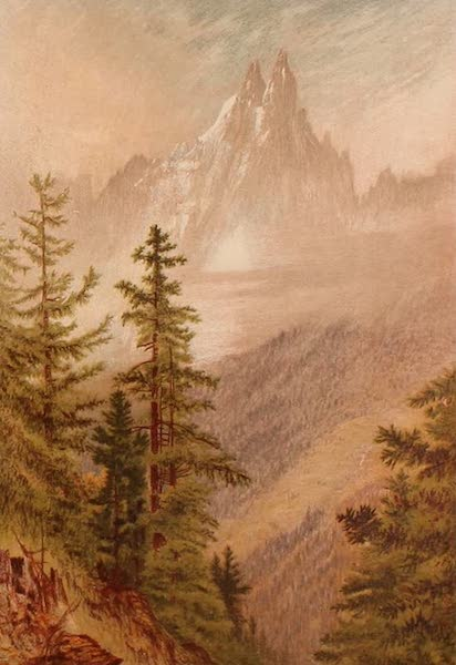 The Peaks & Valleys of the Alps - The Aiguilles Verte and Du Dru from near Chamouni (1868)