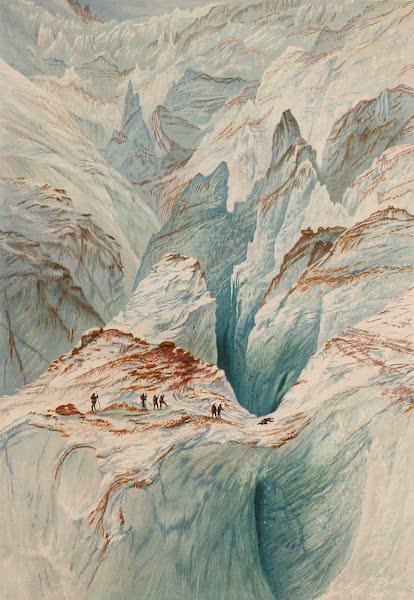 The Peaks & Valleys of the Alps - Crevasses on the Mer de Grace (1868)
