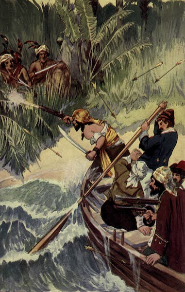 The Pirates of Panama - Lolonois with those that remained had much ado to escape aboard their boats (1914)